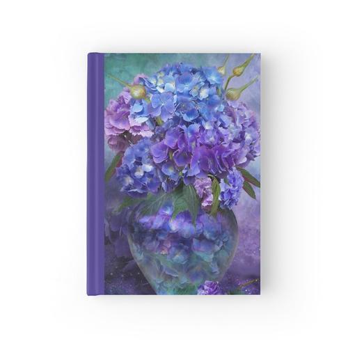 Hortensien in Hortensie Vase Notizbuch