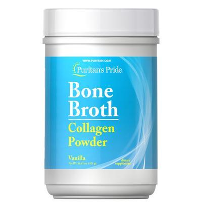 Puritan's Pride Bone Broth Collagen Vanilla Powder-16.61 oz Powder