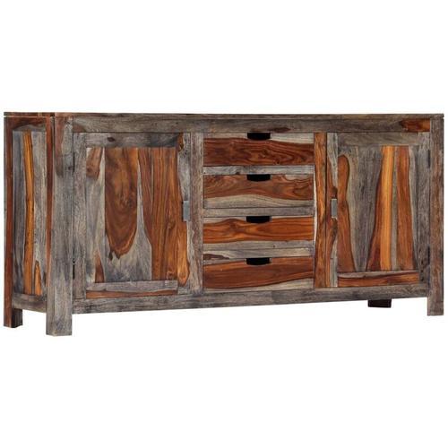 Sideboard Grau 160 x 40 x 75 cm Massivholz