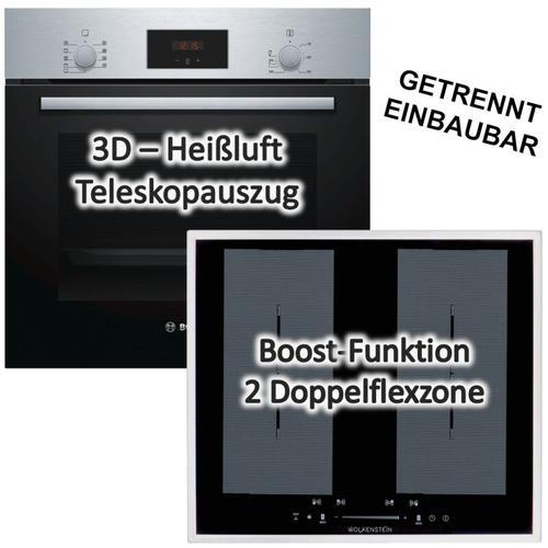 Backofen HBF114BSO mit Wolkenstein Kochfeld Flächeninduktion 60cm autark - Bosch