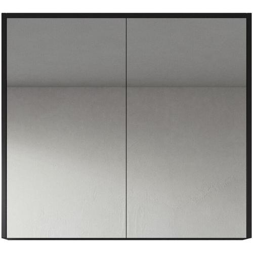 Badplaats - Spiegelschrank Cuba 80cm Schwarzes Holz - Schrank Spiegelschrank Spiegel Badezimmer