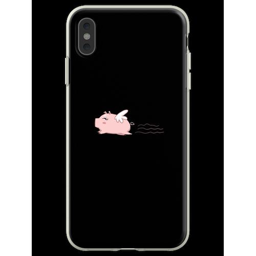Fliegen-Schwein-T-Shirt Schwein-Hemd-Schwein-T-Shirt Lustiges Hemd Flexible Hülle für iPhone XS Max
