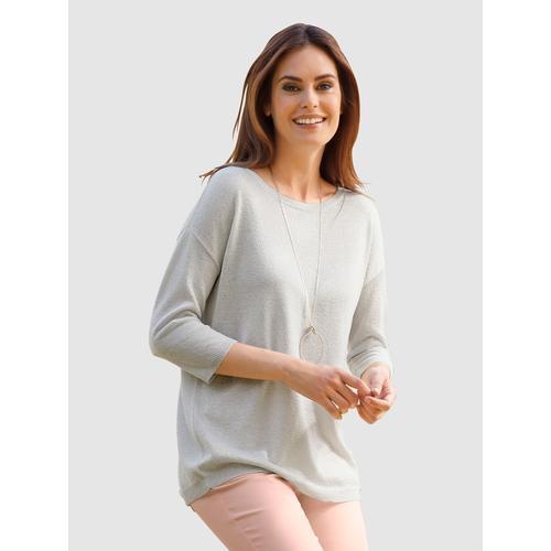Laura Kent Pullover mit metallisiertem Garn weiß Damen Rundhalspullover