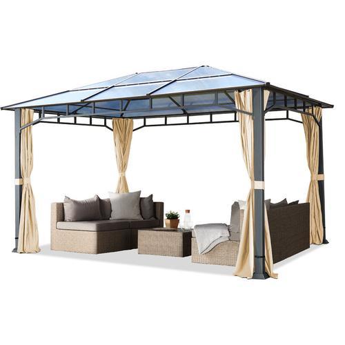 Profizelt24 - Gartenpavillon 3x4 m Aluminium Gestänge Polycarbonat Dach 8mm Pavillon Gartenzelt 4