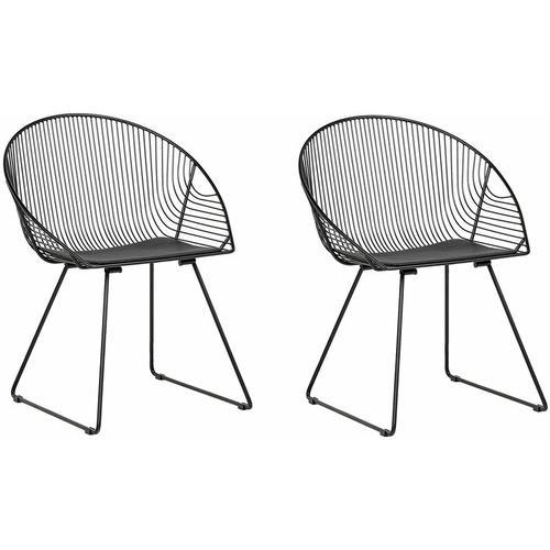 Beliani - Stuhl 2er Set Schwarz Metall/Kunstleder 2 x Sitzkissen Modern