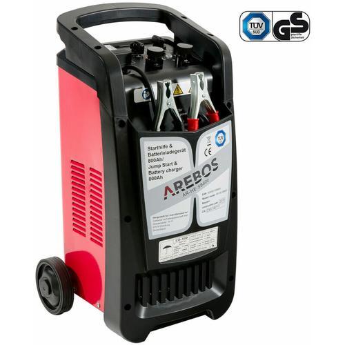 KFZ Starthilfe Batterieladegerät BOOSTER 800 Ah Batterielader 12V 24V PKW LKW - schwarz/rot - Arebos