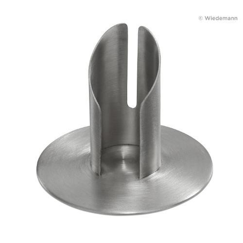 Röhren Taufkerzenhalter mit Schlitz, Messing Silber matt gebürstet für Ø 10 cm für Taufkerzen