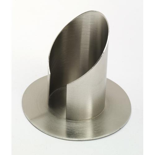 Röhren Kommunionkerzenhalter mit Schlitz, Messing Silber matt gebürstet für Ø 8 cm Kommunionkerzen