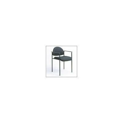 Boss Office Products Contemporary Style Stackable Chair with Arms - Black Fabric