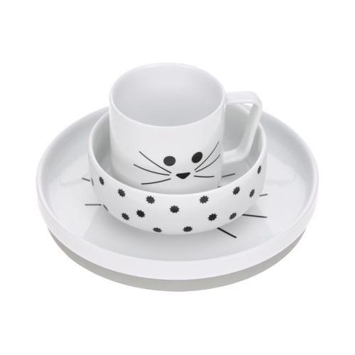 Kindergeschirr Porzellan Kätzchen, grau, 3-tlg. weiß