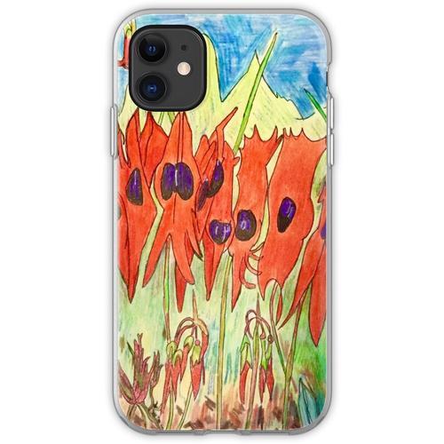 64. Desert Pea und Känguruhpfote Flexible Hülle für iPhone 11