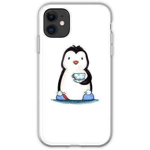 Pinguin, Tasse Tee und Hausschuhe Flexible Hülle für iPhone 11