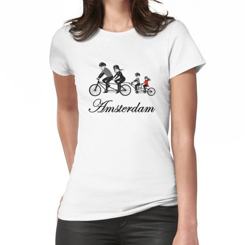 Amsterdam Niederländisch Holland Niederlande Fahrrad Frauen T-Shirt