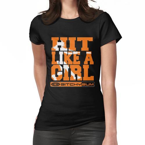 GITCHYSUM HIT WIE EIN MÄDCHEN ORANGE UND WEISS Frauen T-Shirt