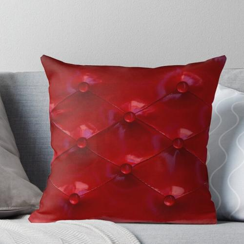Red Leather Upholstery Throw Pillow