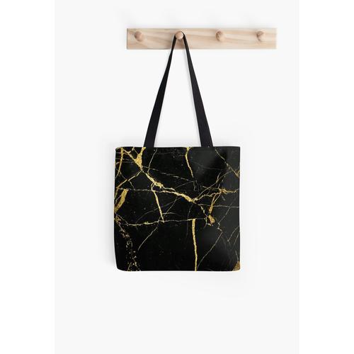 Luxe Schwarz und Gold Marmor Tasche
