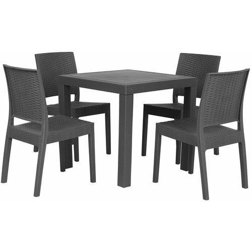 Gartenmöbel 4er Set Grau Tisch mit quadratischer Form 80 x 80 cm in Rattanoptik Modern