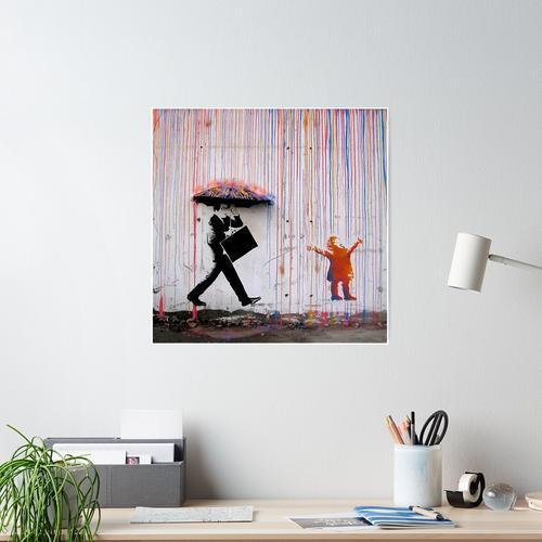 Regenbogenschirm Banksy Poster