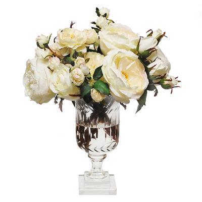 Mixed Rose in Leaf Cut Vase - Frontgate