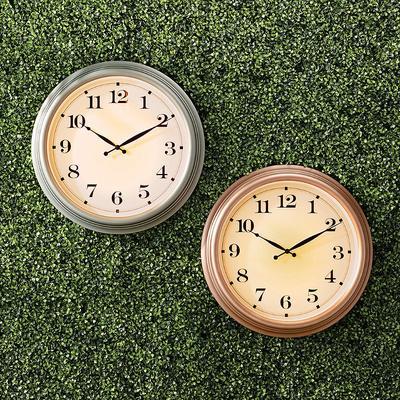 Jameson Illuminated Indoor/Outdoor Clock - Copper - Frontgate