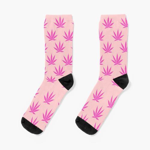 Rosa Hanfblätter Socken