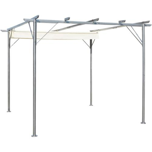 vidaXL Pergola mit Versenkbarem Dach Cremeweiß 3x3 m Stahl