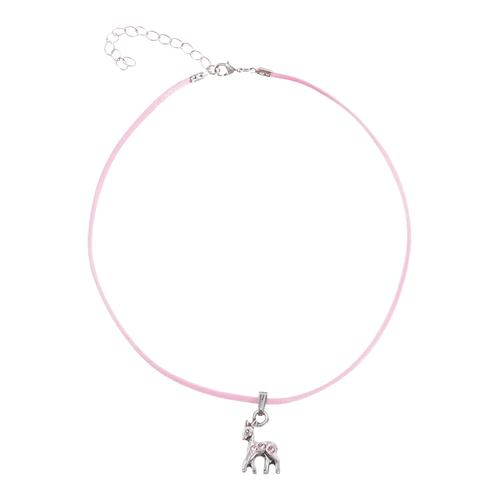 Lusana Kette mit Anhänger, Rehlein-Anhänger rosa Damen Halsketten Schmuck Anhänger