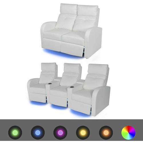 LED-Ruhesessel Kunstleder 2 Stk. Weiß 2+3 Sitze