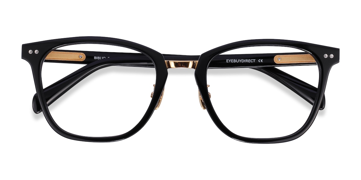Unisex Square Black Acetate Prescription eyeglasses - EyeBuydirect's Biblio