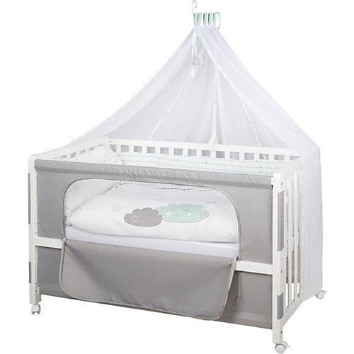 Beistell- und Kinderbett komplett, 60 x 120 cm, Room Bed Happy Cloud, mint/weiß