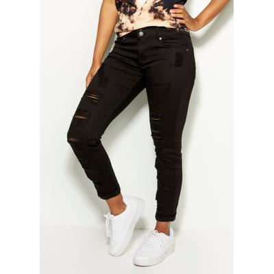 Rue21 Womens Black Ripped Rolled Cuff Skinny Jeans - Size 9