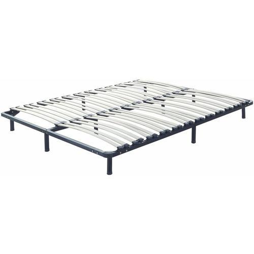 Lattenrahmen Pappelholz Metall 160 x 200 cm 48 Federleisten freistehend für Doppelbett