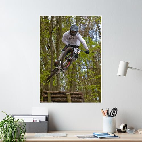 Downhill Mountain Biker Poster