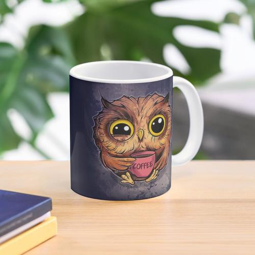 Nachteule mit einer Tasse Kaffee Tasse