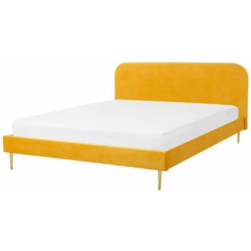 Bett Gelb Samtstoff/Metall 180 x 200 cm Retro Polsterbett Doppelbett Schlafzimmer
