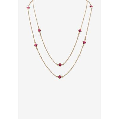 """Plus Size Women's Gold Tone Endless 48"""" Necklace with Princess Cut Birthstone by PalmBeach Jewelry in October"""