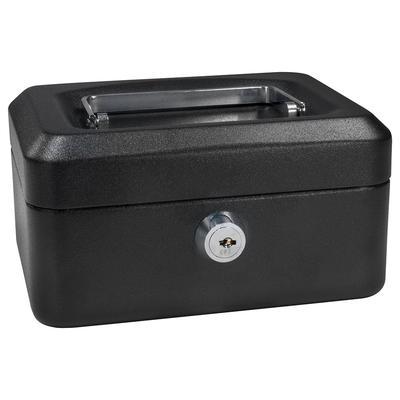 Barska CB11828 Cash Box w/ Key Lock - (3) Compartment Tray, Steel, Black