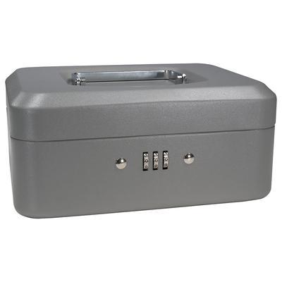 Barska CB11784 Cash Box w/ Combination Lock - (3) Compartment Tray, Steel, Gray