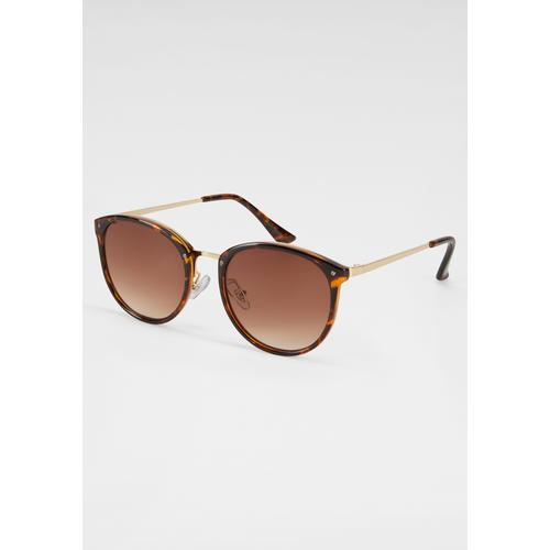 J.Jayz Sonnenbrille, Animal Look braun Damen Runde Sonnenbrille Sonnenbrillen Accessoires