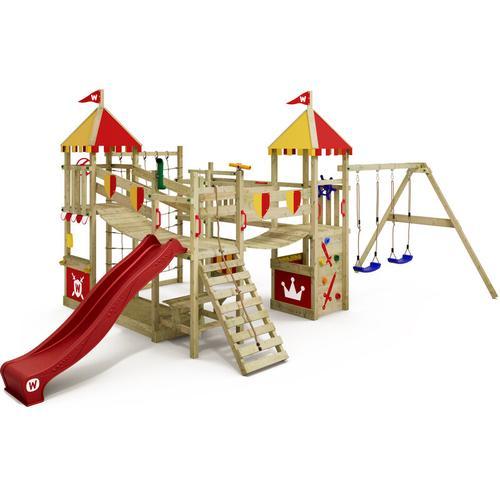 WICKEY Spielturm Ritterburg Smart Queen mit Schaukel & roter Rutsche, Spielhaus mit Sandkasten,