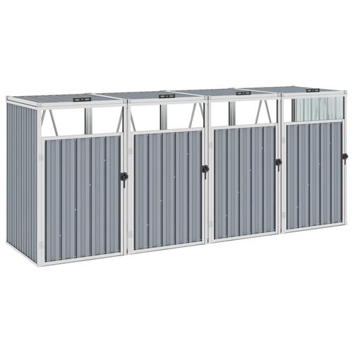 vidaXL Mülltonnenbox für 4 Mülltonnen Grau 286×81×121 cm Stahl