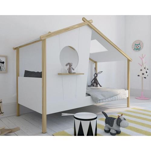 BLN Kids »Amelie« Kinderbett weiß, natur / B 220 x H 101,2 x T