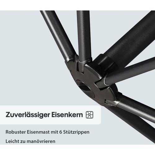 Sonnenschirm Ampelschirm Marktschirm Kurbelsonnenschirm Ø300cm UV-Schutz 50+, Orange