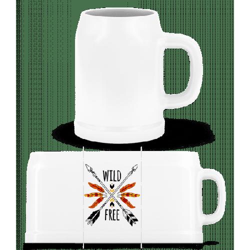 Wild And Free Logo - Bierkrug