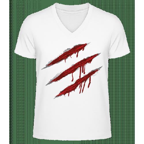 Blutige Kratzer - Männer Bio T-Shirt V-Ausschnitt