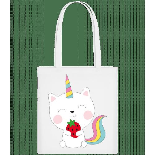 Einhorn Katze Mit Erdbeere - Stoffbeutel