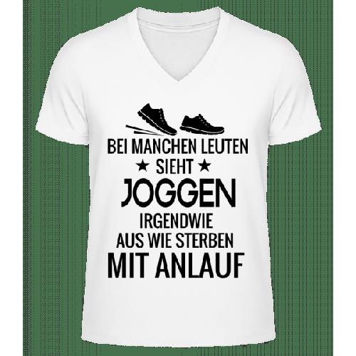 Joggen Sterben Mit Anlauf - Männer Bio T-Shirt V-Ausschnitt
