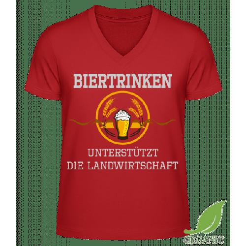 Bier Trinken - Männer Bio V-Neck T-Shirt