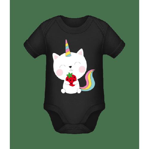 Einhorn Katze Mit Erdbeere - Baby Bio Strampler
