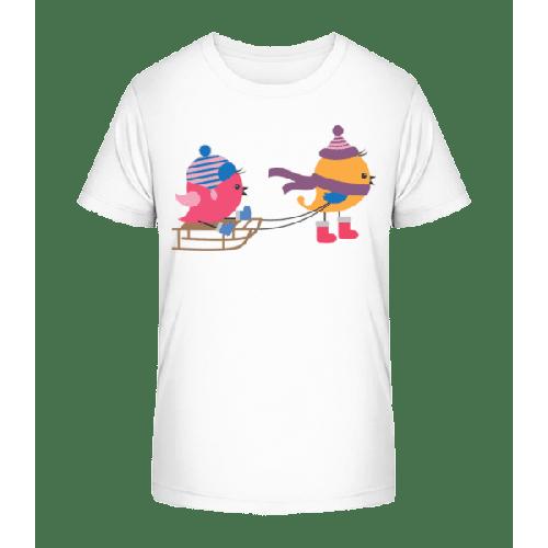 Schlitten Vögel - Kinder Premium Bio T-Shirt
